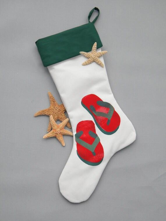 "FLIP FLOP STOCKING red green 24"" (61cm) coastal beach sand Christmas vacation Santa's sandals Crabby Chris Original"