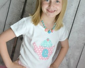 Girls Teacup Applique Tea Party Shirt in Pink Polka Dot with Aqua Damask and Custom Age or Initial