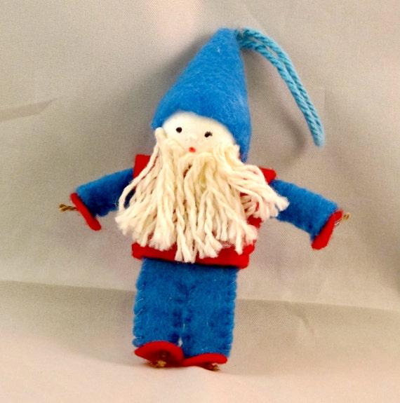 Gnome Ornament - Gnome Decoration - Elf, Gnome, Handmade, Cloth Doll, Ornament, Blue, Red, White Beard