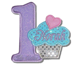 Cupcake Number in lavender and aqua......... Embroidered Iron on patch, choose your number