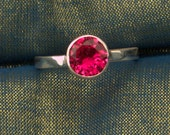8MM Round Ruby July Birthstone Argentium Stacking Ring