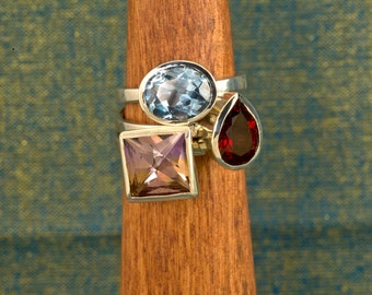 4 Carat Blended Ametrine Handmade Argentium Birthstone Stacking Ring, Birthstone Ring
