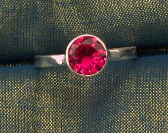 8MM Round Ruby July Birthstone Argentium Stacking Ring, July Birthstone Ring, Silver Ruby Ring