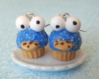 Cookie Monster cupcake earrings