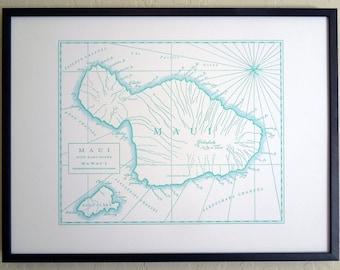 Maui, Hawaiian Islands, Letterpress Printed Map (Light Blue)