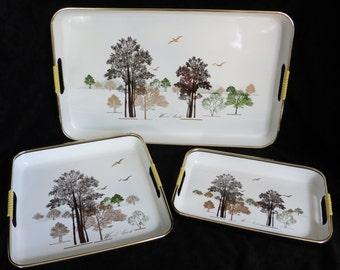 Vintage Set of Wood Land Serving Trays Tree Pattern Japanese Lacquerware
