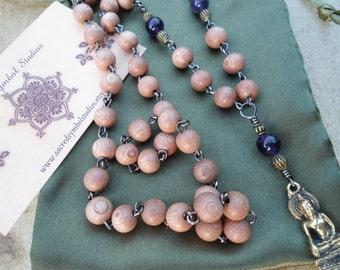 Thai Buddha Mala Beads Rosewood Mala Necklace Amethyst Yoga Jewelry Buddhist Gift Buddhist Mala Prayer Beads Zen Meditation Rosary Yoga Gift
