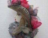 Elegant Run for The Roses Porcelain Diva Brooch - Vintage - Rose Hat - Porcelain Face