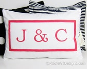 Monogrammed Lumbar Pillow Cover Personalized Initials Fully Lined Hand Painted Made in Canada