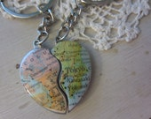 Custom Map Long Distance Love Keychains-Couples or Best Friends 2 Half Hearts Keychain Set
