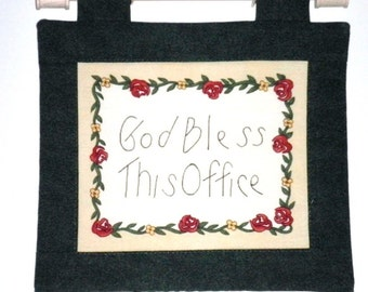 Fabric Wall Hanging - God Bless This Office