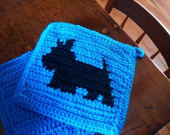 Blue Scotty Dog Potholders - Scottish Terrier Potholders - Crochet - Crocheted - Potholders - Pot Holders - Set of Two Hot Pads - Owner Gift