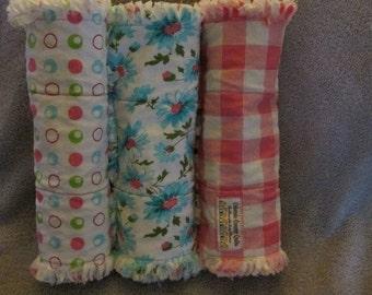 Baby girl rag burp cloths shabby rag set of 3 pink checks flannel baby girl burpies
