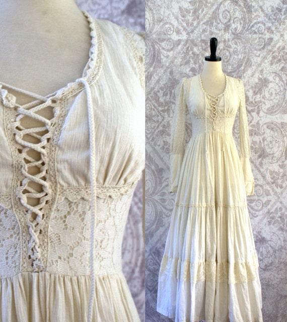 Vintage 1970s maxi dress 70s hippie wedding dress gunne sax for 70s inspired wedding dress