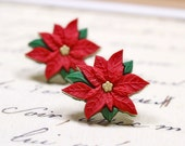 Large Red Poinsettia Earrings, Christmas Jewelry, Winter Holiday Themed Accessories Red Green Gold Winter Flowers Studs Christmas Earrings