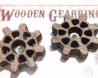 Wooden Gearrings Wood Gear earrings post stud style Steampunk gear earrings
