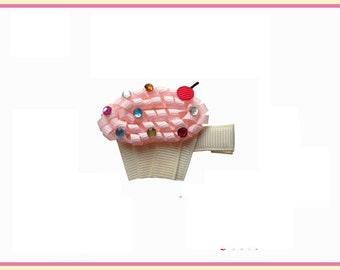 Pink Cupcake Hair Bow Clippy