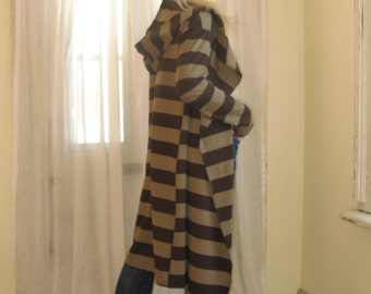 WOMENS OUTERWEAR Long Striped Cardigan Drop Shoulder Jacket Long Sleeve Hoodie Sweater Asymmetric Hem Duster Boho - Brown / Camel - XS - L