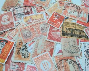 50 Orange Postage Stamps, Used Postage Stamps, Stamps, Vintage Stamps, Halloween Crafting