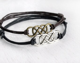 Double Infinity Bracelet - good for man and woman (many colors to choose)