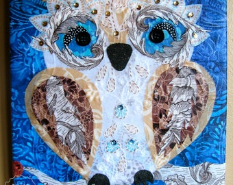 Snow Owl - repurposed fabric collage wall art - ready to hang