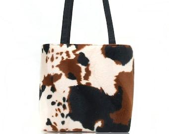 USA Handmade Handbag Shoulder Bag With Animal Print Cow Western  Pattern Purse Handbag , New, Rare