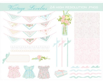 Vintage Lovelies..ribbons, lace, flowers, and pearls CLIP ART SET -for personal and commercial use- hankie bunting