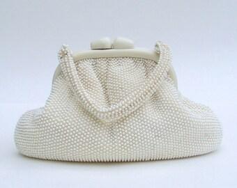 Signed Handbag Ivory Beaded with Lucite Frame Corde Vintage