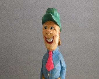 Wood carved Happy Harvey