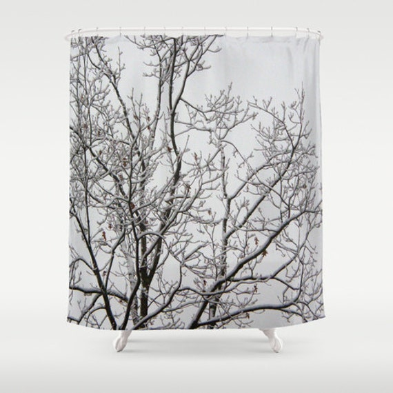 Fabric Shower Curtain Tree Branches White Snow Tree