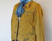 Gold Jr. Large Denim Jacket - Rusty Orange Gold Hand Dyed Upcycled Ralph Lauren Polo Denim Trucker Jacket - Adult Womens Large (40 chest)