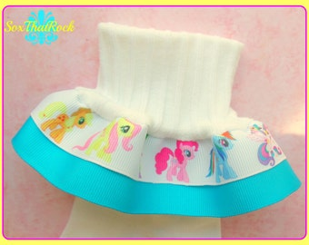 My Little Pony inspired Double Ruffle Socks...You pick Size and Solid Ribbon Color...Sweet