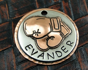 Custom Dog ID Tag, Boxing Gloves Pet ID Tag - Handmade Boxing Dog Collar Tag