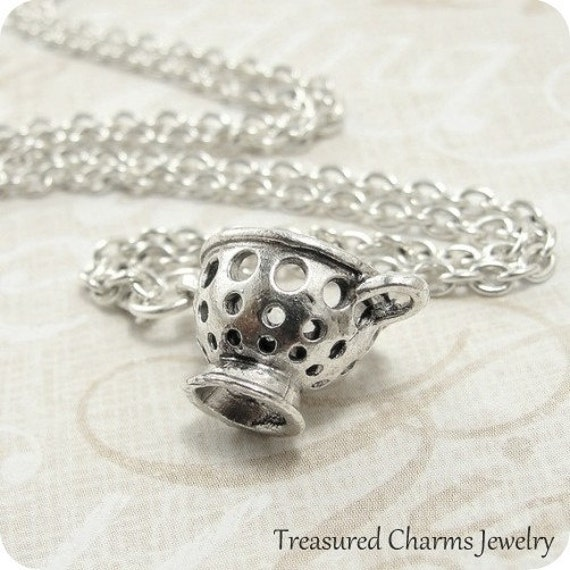 Pasta Strainer Necklace, Silver Plated Pasta Strainer Charm on a Silver Cable Chain