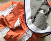Peach, Grey and White Stripe Flannel Nautical Baby Blanket, Modern Rag Quilt
