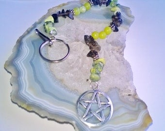 Grass Turquoise, Smoky Quartz, & New Olive Jade Pentacle Decoration (41) natural stones, healing stones, Pagan and Wiccan accessories