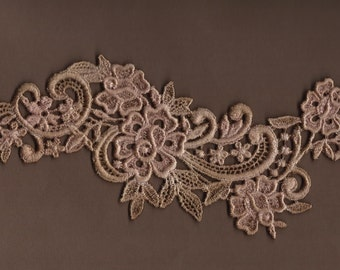 Hand Dyed Floral Venise Lace Applique Rose Scroll  Aged Blush Rose