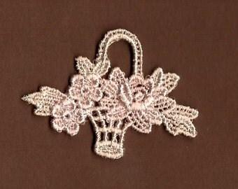 Hand Dyed Venise Lace Petite Flower Basket Applique  Vintage Blush Creme