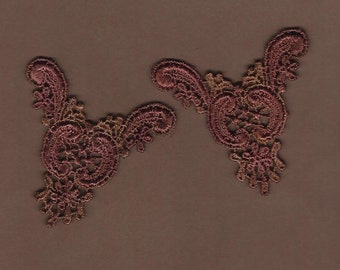 Hand Dyed Venise Lace  Appliques Edwardian Accents Set of 2  Edwardian Wine Mocha
