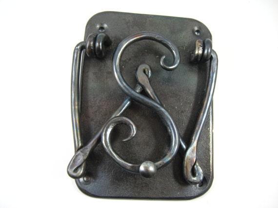Custom door knocker with initials hand forged wrought iron for Custom made door knockers