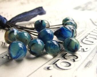 "Glass headpins ""Morphia"" handmade, aqua, blue, green, 8mm round, 3"" long copper wire, 22 gauge, 22g 22ga (4 head pins)"