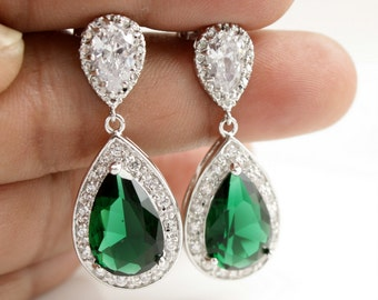 Green Earrings Wedding Jewelry Green Bridal Earrings CZ Emerald Green Teardrop Earrings Wedding Earrings Green Wedding Jewelry, Esmeralda