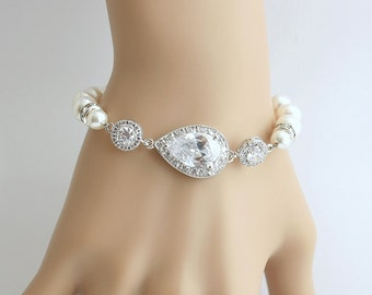 Bridal Bracelet, Wedding Jewelry, Swarovski Pearl,Cubic Zirconia, Teardrop Bracelet, Crystal Wedding Bracelet, Tara