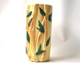 vintage bamboo vase royal copley yellow mid century modern retro decorative home decor tall container cylinder green leaves