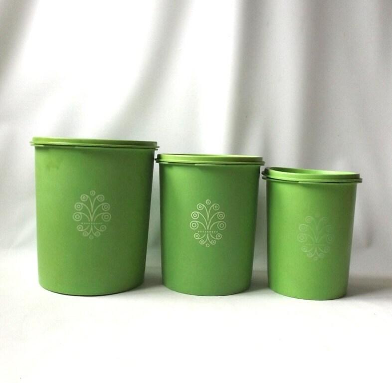 vintage 1970 39 s tupperware canisters set apple green. Black Bedroom Furniture Sets. Home Design Ideas