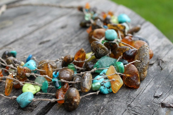 Multi Strand Linen Necklace, Amber Necklace, Natural Stones, Raw Amber, Coral, Turquoise, Howlite, Citrine, Glass , Green, Forest Tale