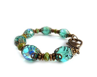 Turquoise Beaded Bracelet - Czech Fire Polished Beads - Retro Victorian Style - Chunky Bohemian Stacking Bracelet