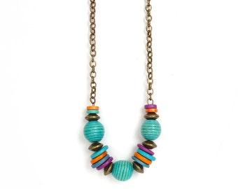 Mykonos Beaded Necklace - Colorful Geometric Necklace - Turquoise - Purple - Orange - Bohemian Necklace