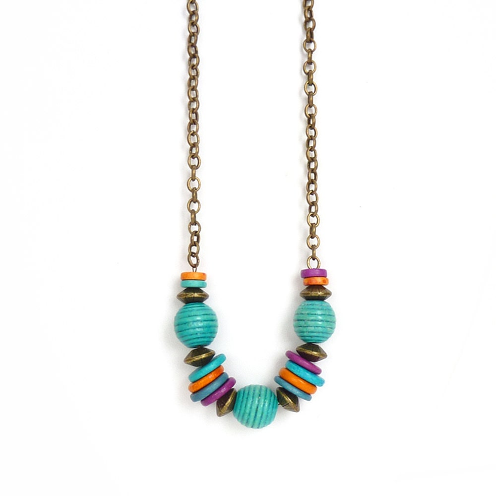 mykonos beaded necklace colorful geometric necklace