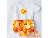 Personalized Citrus Outfit includes Custom Shirt and Diaper cover - Oranges and Lemonade